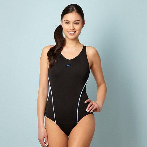Speedo - Black +Endurance+ side striped swimsuit