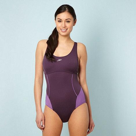 Speedo - Purple racer back one piece swim suit