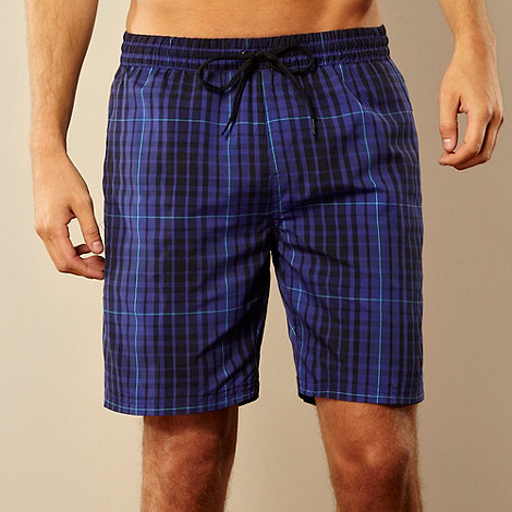Speedo - Navy checked swim shorts