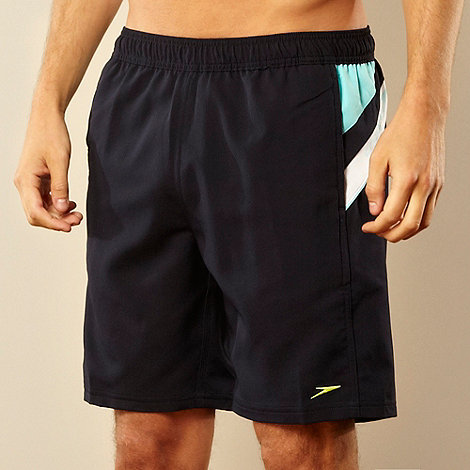 Speedo - Navy textured stripe side swim shorts