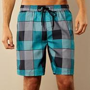 Blue checked swim shorts
