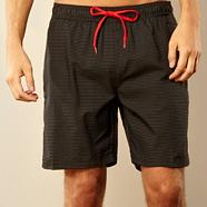 Black grid checked swim shorts