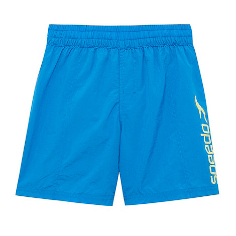 Speedo - Boy+s blue logo printed water shorts