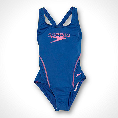 Speedo - Girl+s blue logo swimsuit
