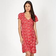 Red butterfly print dress