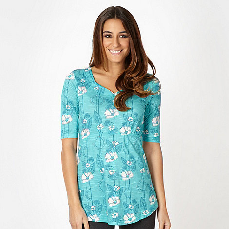 Weird Fish - Turquoise sketched floral tunic