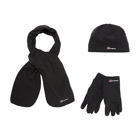 Berghaus - Black fleece hat gloves and scarf set