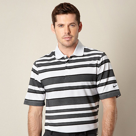 Nike - Black bold striped performance polo shirt