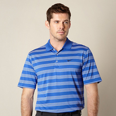Nike - Blue striped performance polo shirt