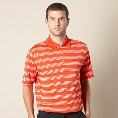 Nike - Orange fine striped performance polo shirt