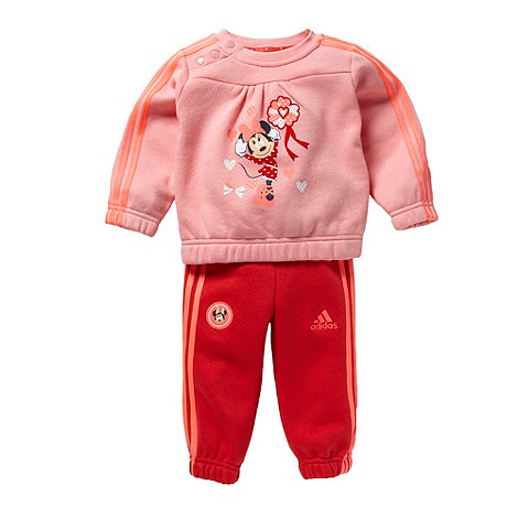 adidas - Babies pink +Minnie Mouse+ sweat top and jogging bottoms set