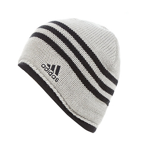 adidas - Grey knitted fleece logo beanie hat
