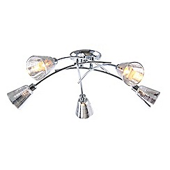 Home Collection - Metal and Glass Silver 'Louise' 5 Light Flush Ceiling Light