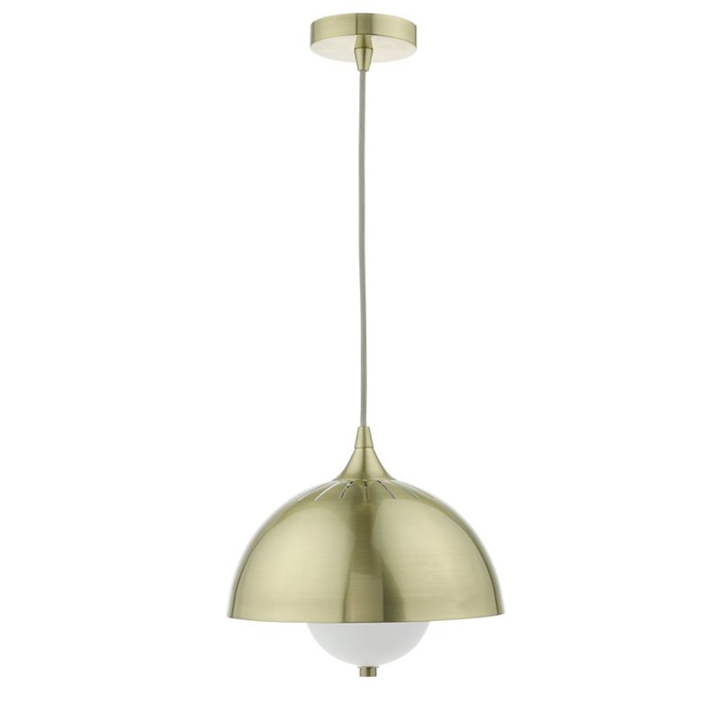 J by Jasper Conran Gold Dome Metal and Frosted Glass Pendant Ceiling Light