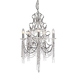 Home Collection - Abigail Chain and Crystal Glass Silver Chandelier Light