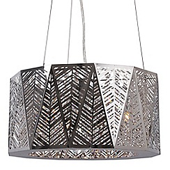 Home Collection - Natalie Silver Metal and Clear Crystal Glass Pendant Light