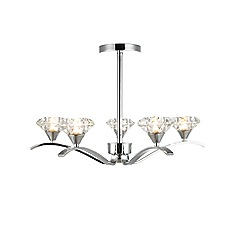 Home Collection - Audrey Silver Metal and Clear Cut Glass Flush Light