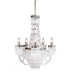 Home Collection - Ruby Crystal Glass Antique Brass Chandelier Light