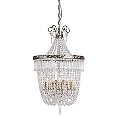 Home Collection - Madeline Crystal Glass Antique Brass Chandelier Light
