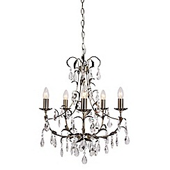 Home Collection - Quinn Crystal Glass Antique Brass Chandelier Light
