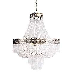 Home Collection - Adeline Crystal Glass Antique Brass Chandelier Light