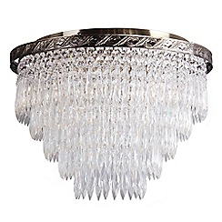 Home Collection - Peyton Crystal Glass Antique Brass Flush Light