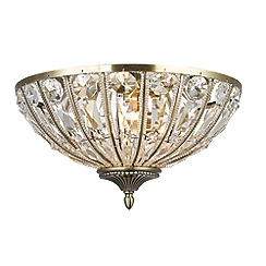 Home Collection - Alison Crystal Glass Antique Brass Flush Light