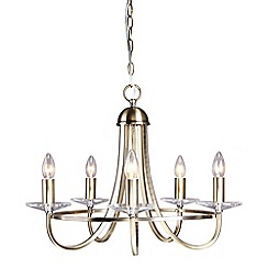 Home Collection - Clara Metal and Glass Antique Brass Chandelier Pendant