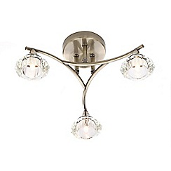 Home Collection - Julia Cut Glass and Antique Brass Metal 3 Light Flush Light