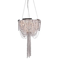 Home Collection - Scarlett Metal Chain and Crystal Glass Silver Chandelier Light