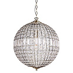 Home Collection - Large Isabella Crystal Glass Antique Brass Ball Pendant Light