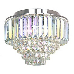 Home Collection - Chrome and crystal 'Florence' flush ceiling light