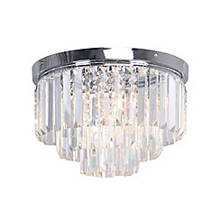 Home Collection - Chrome and crystal 'Melody' flush ceiling light