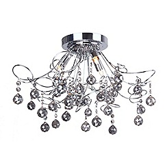 Home Collection - 'Mary' Smoke Crystal Glass Flush Ceiling Light