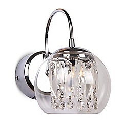 Home Collection - Alice Smoke Glass and Clear Crystal Glass Wall Light
