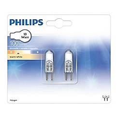 Philips - Pack of 2 10W G4 halogen capsule bulbs
