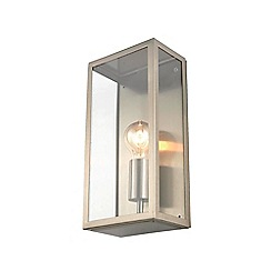 Zinc - Silver metal and glass box wall light