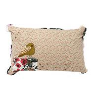 Cream floral embellished bird cushion