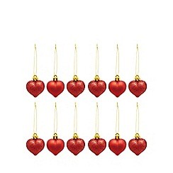 Debenhams - Set of 12 red heart decorations in box