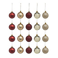 Debenhams - Set of twenty multi-coloured festive baubles
