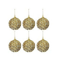 Debenhams - Set of six gold sequin embellished baubles