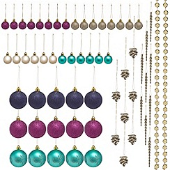 Debenhams - Set of 62 multicoloured Christmas tree decorations