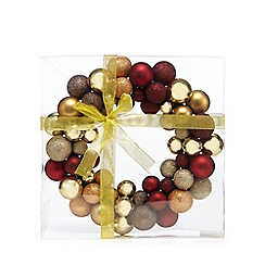 Debenhams - Red and gold glitter bauble wreath