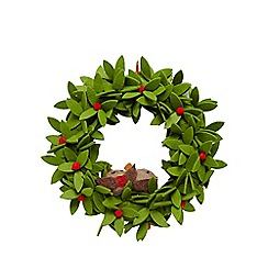 Debenhams - Green felt robin indoor wreath