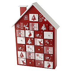 Heaven Sends - Red and white wood house advent calendar