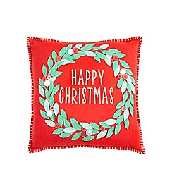 Debenhams - Red Happy Christmas Cushion