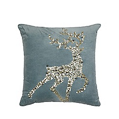 Debenhams - Blue Reindeer Cushion