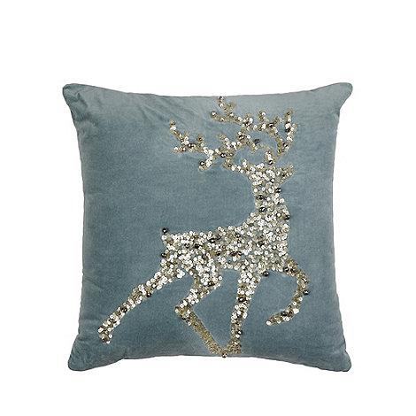 Debenhams - Blue Reindeer Cushion