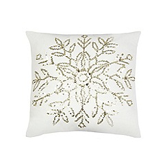 Debenhams - White sequin snowflake cushion