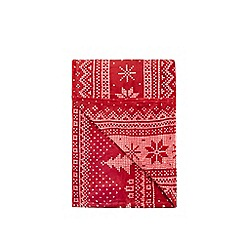 Debenhams - Red Fair Isle fleece blanket throw